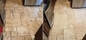 Before and after of a tile and grout cleaning.